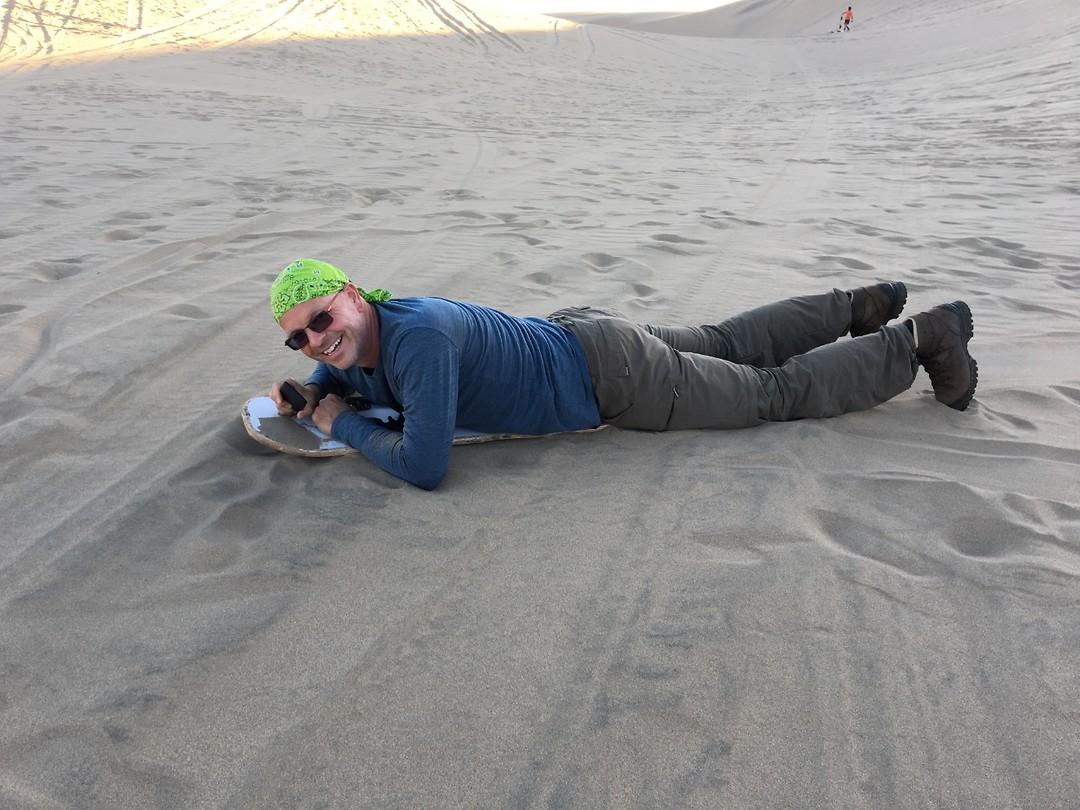 333 Sjef op een sandboard