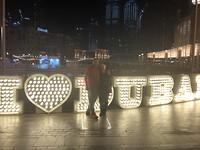 Samen bij de Fonteinen boulevard in Dubai