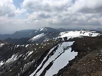 De toppen bedekt met sneeuw.