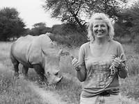 Lilly met rhino op Waterberg Plateau