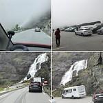 De Trollstigen  met parkeerplaats boven en watervallen
