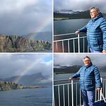 Regenboog voor begroeting in IJsland, lange fjord, Seydisfjordur