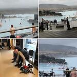 Zwemmen in Mývatn natuurlijk warm-heet water, Michel en JanAlbert worstelen met hun schoenen