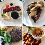 Sashimi  walvis+gerookte puffin, biefstuk van walvis+wild paard gedeeld met Michel, en Skyr brulee
