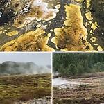 Geysir, het gele is geyseriet, opaal vorm