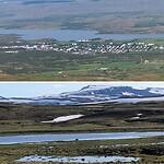 Blik op Egilstadir en minder ijs dan op heenweg
