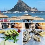 In een strandtent geluncht, oesters en tonijntartaar