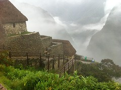 Start in de mist Machu Picchu