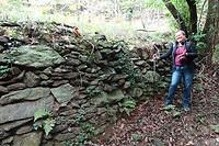 Joan bij megalitisch muurtje