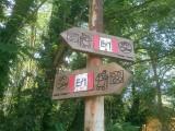 Wegwijzer met pelgrim langs de Ticino