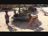 Playing beachball with Desta