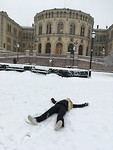 Making snow angels in Oslo city