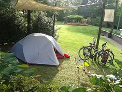 Ons schitterend plekje voor 2 dagen op camping Marecchia in Ponte Messa