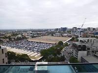 Uitzicht vanuit ons appartement in Melbourne