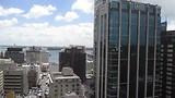 Uitzicht vanuit mijn hotelkamer in Auckland