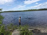 Bijke swimming in Klotz Lake.