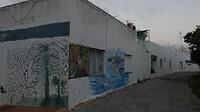 Beschilderde muren in downtown Portimão