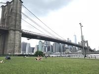 Brooklyn Bridge, picknickend met flesje wijn vanaf Dumbo Park