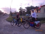 A picture near our hotel with an other cyclist