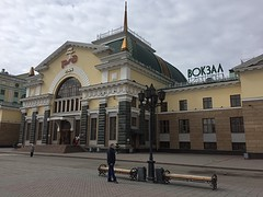 Het stationsgebouw van Krasnoyarsk