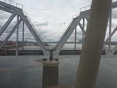 De lange brug over de Yenisei, staat ook op het oude briefje van 10 roebel