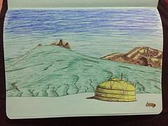 Mijn allereerste tekening van het landschap met de gertent van de beheerder