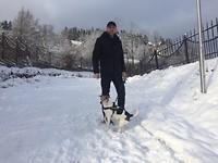 Erik en Milo in de sneeuw