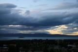 Uitzicht uit de suite op zonsondergang