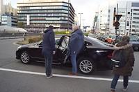 met taxi terug naar hotel