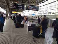 op perron voor de Shinkansen