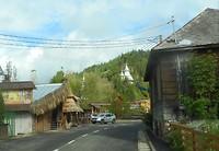 Een bedrijfje met houtsnijwerk (zie de ooievaar op de nok)
