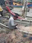 Krabben uit het net halen