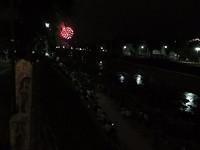 En hier zaten we, aan de waterkant. Met prachtig zicht op het vuurwerk.