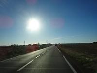 We zijn weer onderweg met de zon in het gezicht!