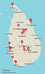 Bezochte plaatsen in Sri Lanka