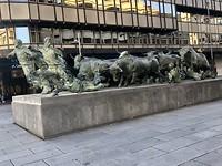 Beeld van het beroemde stieren rennen.