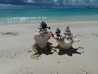 Smurfs on a beach in Anguilla