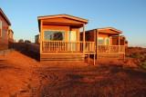 Onze cabin in het ochtendzonnetje