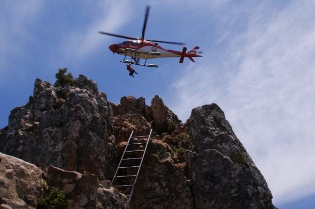 de reddngsoperatie vanaf de top van Lionshead