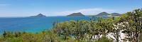 Panorama van het uitzicht vanaf Inner Light Tea Rooms in Nelson Bay
