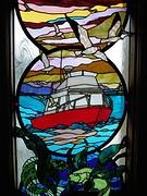 Glaskunst in kantoor watertaxi