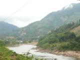 Rivier in Vietnam tijdens onze eerste rit daar