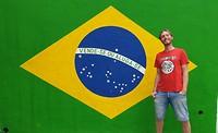 Jan met de Braziliaanse vlag