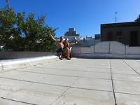 Zonnestralen op het dakterras