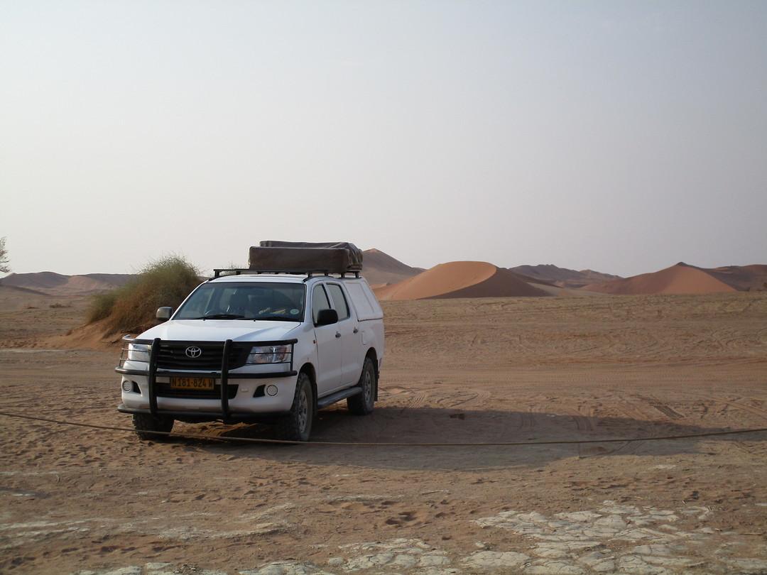 Onze 4x4-voeter hebben we nu ook kunnen testen in de mulle zand van de Sossusvlei...