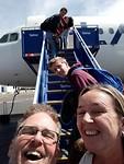 Selfie op de vliegtuigtrap