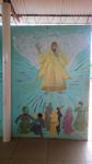 De Here Jezus op de muur geschilderd