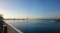 Foto van de haven, schip vertrekt