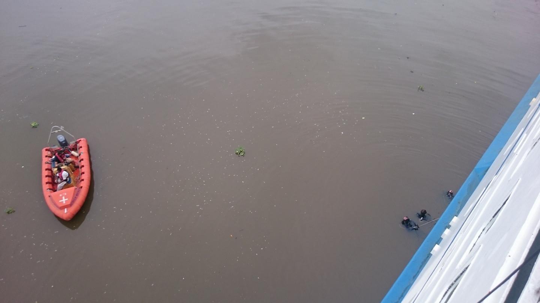 Workboat near divers