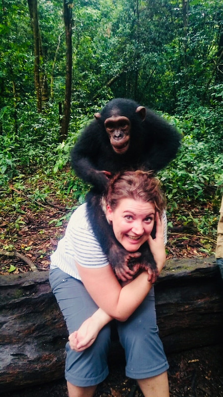 Silke with a Chimpanzee